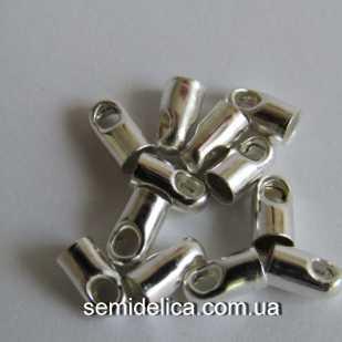 Концевик, колпачок для шнура, ленты 6х3 мм, серебро