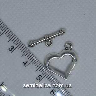 Застежка тогл металл 19х17мм и 20х6мм Сердечко, серебро