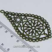"""Коннектор, подвеска филигрань металл 7,8х4,2 см """"Капля"""", бронза"""
