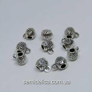 Бейл, основа для кулона, подвески 8х6х6 мм, серебро
