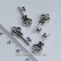 Кулон, подвеска металл 20х9 мм Ключик, серебро