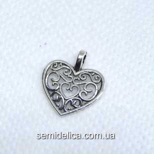 Кулон, подвеска металл 16х14 мм Сердце, серебро