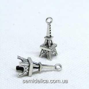 Кулон, подвеска металл 25х8х8 мм Эйфелева башня 3D, серебро