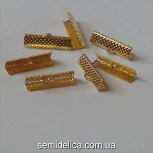 Зажим для ленты, шнура 2,5 см, золото