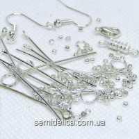 Фурнитура для бижутерии, набор, серебро