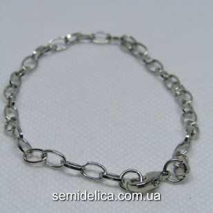 Браслет с застежкой 20,5 см, цепь метал готовая основа,  серебро