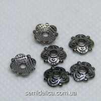 Обниматель для бусин 8х8х2 мм, Тибетский стиль, черный