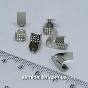 Концевики зажимы для шнура, ленты 11х6х5 , серебро
