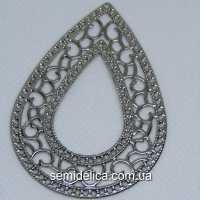 Кулон, подвеска металл 6,5х4,6 см Капля, серебро