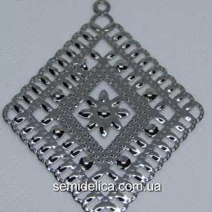Кулон, подвеска металл 7х5,6 см Ромб, серебро