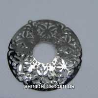 Кулон, подвеска металл 4,6 см Круглая, серебро