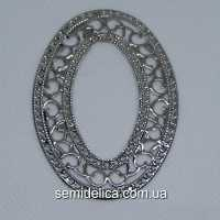 Кулон, подвеска металл 6,5х4,6 см  Овал, серебро