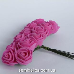 Роза из латекса 2 см, малиновый