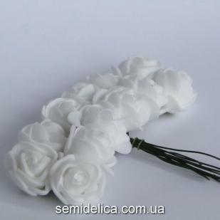 Роза из латекса 2 см, белый