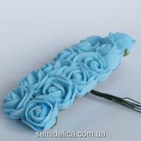 Роза из латекса 2 см, голубой