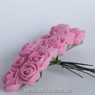 Роза из латекса 2 см, розовый