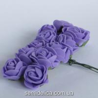 Роза из латекса 2 см, сиреневый