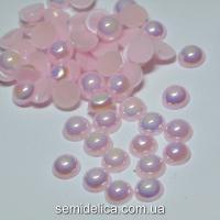 Полубусина с блеском АВ 8мм, розовый бледный