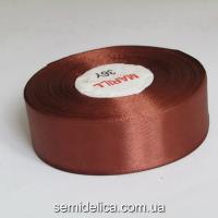 Лента атласная 2,5 см, коричневый