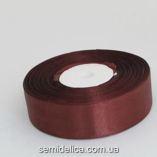 Лента атласная 2,5 см, шоколадный