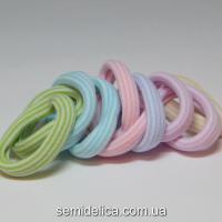 Резинки велюр 4,0 см, в полоску цветной микс (пастельные тона)