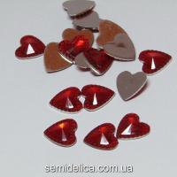 Сердце хрусталь, 12мм, красный