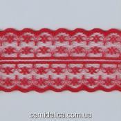Кружево 4,7 см, цветочек, красный
