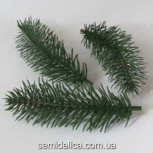 Хвоя, веточка ели искусственная 14,0 см, зеленый