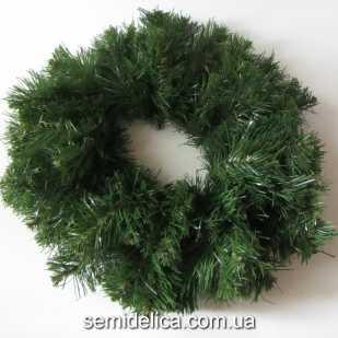 Хвоя искусственная, венок новогодний 35,0 см, зеленый