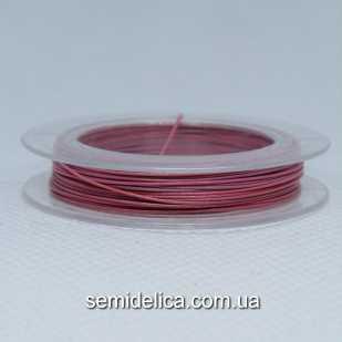 Тросик ювелирный сталь 0,45 мм, 10 м, розовый