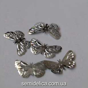 Пайетки Бабочка 25х14 мм, серебро