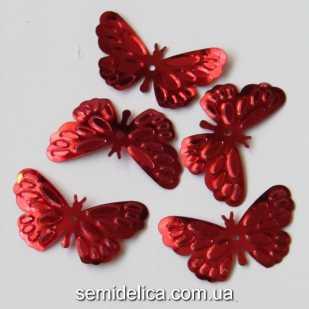 Пайетки Бабочка 25х14 мм, красный