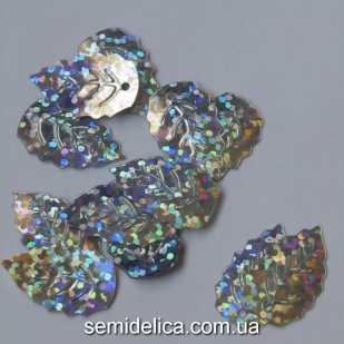 Пайетки с голограммой Листочек 19х12 мм, серебро