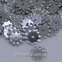 Пайетки 9 мм Цветочек, серебро