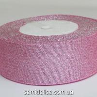 Лента парчевая 4,0 см, розовый