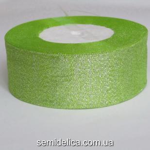 Лента парчевая 4,0 см, салатовый