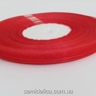 Лента органза 0,6 см, красный
