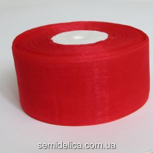 Лента органза 4,0 см, красный