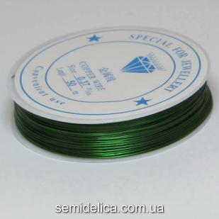 Проволока в катушке 0,37 мм, 50 м, зеленый