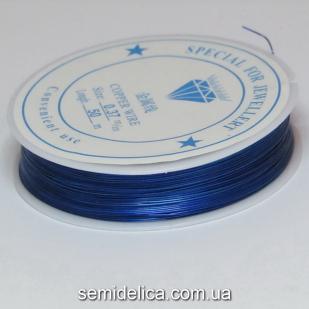 Проволока в катушке 0,37 мм, 50 м, синий