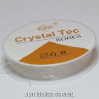 Леска-резинка, силиконовая нить резинка 0,8 мм, прозрачная