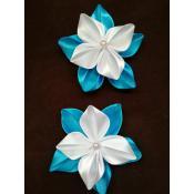 Резинки для волос бело-голубые