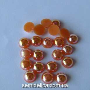 Полубусина с блеском АВ 8мм, оранжевый