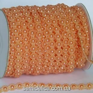 Полубусина на нитке цветочек 10 мм, оранжевый