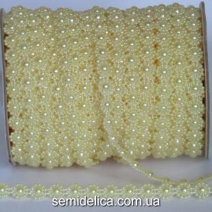 Полубусина на нитке цветочек 10 мм, желтый светлый