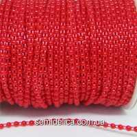Полубусины на нитке 4 мм, красный