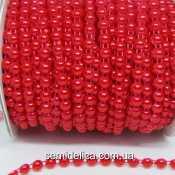 Полубусины на нитке 6 мм, красный
