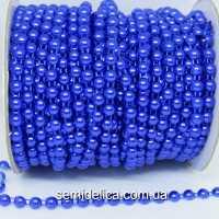 Полубусины на нитке 6 мм, синий