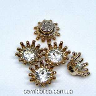 Серединка, кабошон Корона со стразой 15 мм, золото