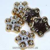 Серединка, кабошон Цветочек 21х20 мм, золото с серебром